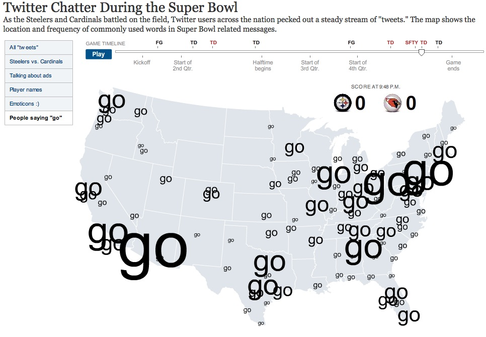 Screenshot of Twitter chatter map of Superbowl